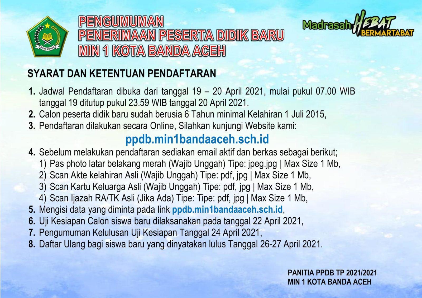 Info Penerimaan Siswa Baru Min 1 Banda Aceh Madrasah Ibtidaiyah Negeri 1 Banda Aceh